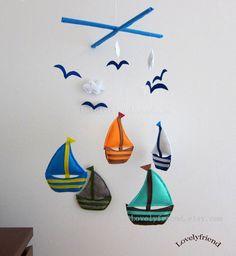 """Baby Mobile - Sailboats Crib Mobile - Handmade Nursery Mobile - """"Sailboats and Seagulls """" (Match your bedding)"""