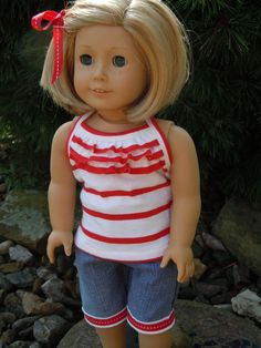 American girl doll ruffled tank top and capri by CharsBoutique1958,
