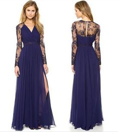 Women Deep V-neck Party Gown Fashion Long Navy Blue Lace Floor-Length Autumn Spring 2017 NEW Christmas Dresses Clothes for Lady