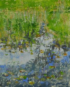 Raymond Berry: RMC Pond, Reflections, May 9, 2013, Encaustic on Panel, 10 x 8
