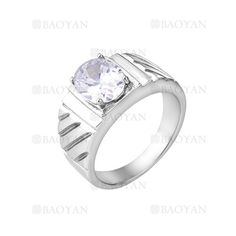 anillo de cristal brillante en acero plateado inoxidable -SSRGG271888