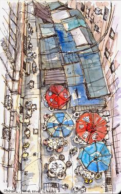 View from long escalator @ SOHO, Hong Kong Moleskine, Drawing Sketches, Drawings, A Level Art, Urban Sketchers, Sketchbook Inspiration, Watercolor Sketch, Urban Art, Illustrations Posters