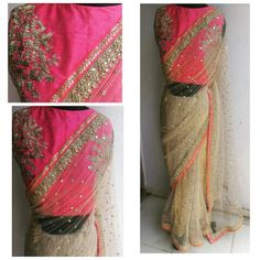 Does not get better than this! Beautiful flat sequin embroidered ivory net sari with neon pink accents. Find us at www.facebook.com/waidurya
