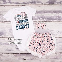 Personalized Baseball Shirt and Ruffle Shorts Set Baseball Heart with Name Outfit Baby Toddler Girl Clothes Sister Fan red