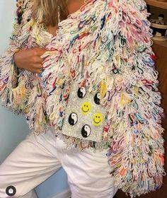 "Lærke Bagger on Instagram: ""SERIOUS BIZ 🤠 (bag ➡️ @purautz) #laerkebagger #knitwear #handknit #upcycling #scrapyarn"" Hand Knitting, Knitwear, Kimono Top, Beads, Instagram, Inspiration, Tops, Design, Women"