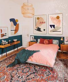 This pink and emerald green bedroom belongs to artist Jan Skacelik and he displays his abstract art works here alongwith mid century modern designs bedrooms Green Emerald Green Bedrooms, Bedroom Green, Bedroom Decor, Bedroom Ideas, Girls Bedroom, Emerald Bedroom, Funky Bedroom, Master Bedroom, Bedroom Artwork