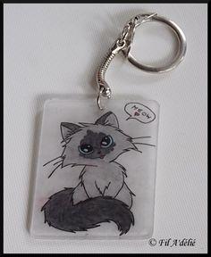 Porte clés motif chat Ragdoll fait dans du plastique dingue/fou : http://filadelie.alittlemarket.com