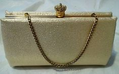 Vintage After Five By Gold Shimmer Clutch Evening Bag Purse Handbag