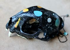 Cosmic - real taxidermy bobcat skull necklace by Lupa. At http://thegreenwolf.etsy.com