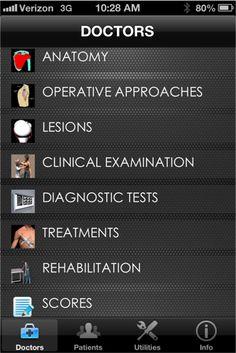 iShoulder medical app - many tools for clinicians