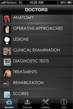 iShoulder medical app - many tools for clinicians