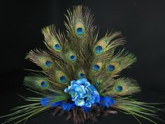 Peacock Flower Arrangements | Blue Hydrangea & Peacock Feather Floral Arrangement