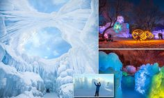 'Ice farmers' creating a massive ice castle featuring waterfalls