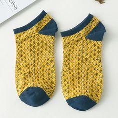 Personalized jacquard geometry boat socks, Casual men's socks, cotton sock