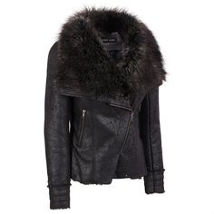 Black Rivet Studded Moto Jacket w/Faux-Fur Collar Was: $600.00                     Now: $349.99