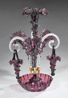 Victorian, Epergne, Trumpet Vases Amethyst, Hanging Basket on Cane, 21 inch. Victorian Vases, Victorian Interiors, Cut Glass, Glass Art, Brides Basket, Crystal Glassware, Window Art, Centre Pieces, Light Fittings