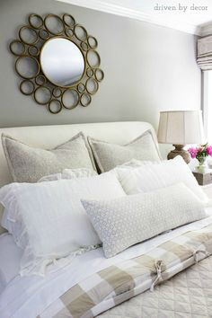 A pair of euro shams, a pair of standard shams, and a lumbar pillow sample bedding shams, 8 simple steps to making the perfect bed driven by decor. Euro Pillows, Euro Shams, Bed Pillow Arrangement, Bed Steps, Driven By Decor, Ideas Hogar, Simple Bed, Comfy Bed, Luxury Bedding