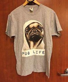 "☀NEW☀MENS ""PUG LIFE"" Gray T-Shirt SZ M Funny MIB ""Dog In Hoodie"" Rap    eBay"