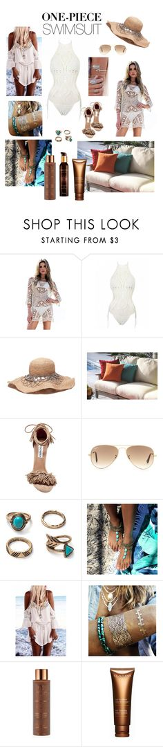 """One-Piece Style"" by acurry1121 on Polyvore featuring DutchCrafters, Steve Madden, Ray-Ban, Flash Tattoos, Vita Liberata, Clarins, Guerlain and onepieceswimsuit"