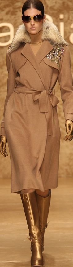 Laura Biagiotti camel coat women fashion outfit clothing style apparel @roressclothes closet ideas