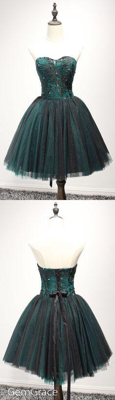 Dark green short tulle prom homecoming dress