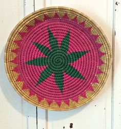 Vintage Woven Basket in Pink and Green by LittleBohoCottage on Etsy $14.99