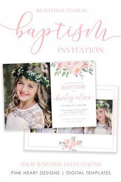 Invite family and friends to your daughter's baptism day with this beautifully designed baptism invitation. The elegant floral design and modern calligraphy will highlight your daughter's special baptism photos! Save time with this easy to edit baptism invitation to make her baptism day even more special!  Click to Demo the design! #baptisminvitation #LDSbaptism #girlbaptism, #floralbaptism #ldsbaptism #ldsinvitation Baptism Program, Baptism Invitations Girl, Gold Invitations, Baptism Cookies, Baptism Photos, Invitation Design, Invite, Printable Designs, Printables