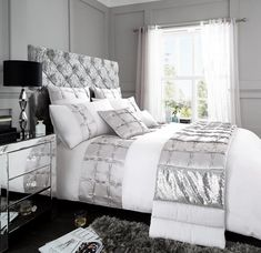 Signature Adriana Grey/Silver Duvet Quilt Cover Bedding Set – Linen and Bedding Duvet Bedding, Duvet Sets, Complete Bedding Set, Stylish Beds, Bed, Duvet Cover Sets, Duvet Covers, Geometric Duvet, Silver Bedding