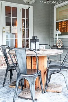 How to Waterproof Outdoor Furniture {the EASY way - Patio Furniture - Ideas of Patio Furniture PatioFurniture - LOvE This combo of industrial chairs and electrical wire spool! Easiest way to waterproof outdoor wood furniture ever! Outdoor Wood Furniture, Repurposed Furniture, Diy Furniture, Steel Furniture, Furniture Stores, Modern Furniture, Antique Furniture, Outdoor Wood Table, Furniture Outlet