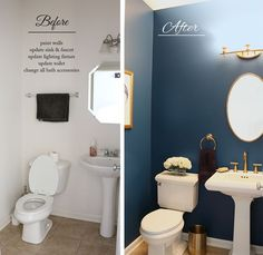Royal blue bathroom decor blue and gold bathroom gold bathroom ideas powder room makeover before and Navy Blue Bathrooms, Black And Gold Bathroom, Blue Bathroom Decor, Downstairs Bathroom, Bathroom Ideas, Bathroom Accessories, Blue Bathroom Paint, Bathroom Designs, Small Bathroom Paint Colors