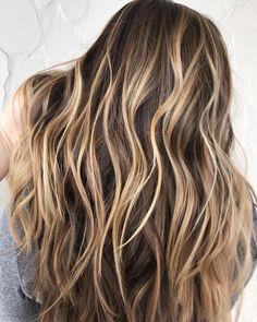 Warm dark brown with high-contrast caramel blonde ribbon highlights. Blonde Streaks, Brown Hair With Blonde Highlights, Brown Ombre Hair, Hair Color Highlights, Blonde Color, Brown Hair Colors, Blonde Balayage, Chunky Highlights, Peekaboo Highlights