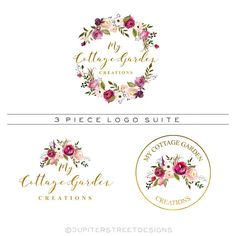 Wreath Logo Set-3 Piece Logo Set-Watercolor Logo-Flower