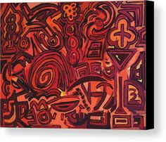 Red Canvas Print featuring the digital art Red Symbols by Ludovico Misino