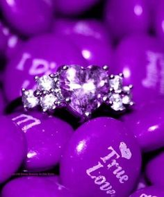 Cute 'True Love' Hot Pink M & M's and a gorgeous Pink Heart & white diamonds ring! Purple Love, All Things Purple, Shades Of Purple, Magenta, Pretty In Pink, Pink Purple, Purple Stuff, Pink Bling, Purple Hearts