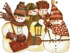"""The Clean-Up Crew"" snowman watercolor by Diane Knott"