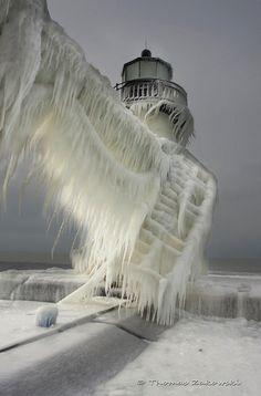 Ice-covered lighthouse