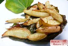 Pommes de terre au four façon wedges sur feuilles de figuier