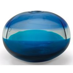 """Timo Sarpaneva """"Kotilo"""" vase, by Venini & Co., Italy, 1997, bulbous form composed of bands of green, clear and blue glass,"""