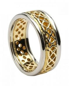 This ladies yellow and white gold Celtic Ring and Irish wedding band has a simple elegance with its intertwined and open Celtic knot band. Ring width: 0.27 inches. Sizes 4-9 (including half sizes). This ring is made to order. Please allow approximately 10-14 working days for this item to be completed. Made in Ireland by Boru and hallmarked by the Assay Office in Dublin Castle.