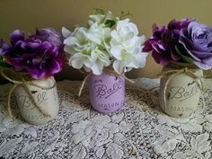 Purple and Gray Distressed Mason Jars.  Wedding Centerpiece, Bridal and Baby Showers, Home Decor, Vases. Shabby Chic Rustic