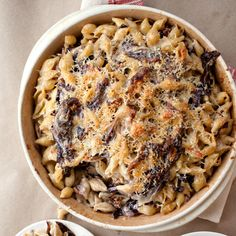 Three-Cheese Baked Pasta with Porcini and Radicchio - Make-Ahead Main Courses on Food & Wine Baked Pasta Dishes, Baked Pasta Recipes, Cheese Recipes, Recipe Pasta, Wine Recipes, Cooking Recipes, Easy Recipes, Baked Cheese, Pasta Cheese