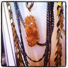 The drussy citrine and leafs necklace at enriquemuthuan.com