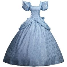 Cosrea Cinderella Brocade Satin Cosplay Costume Dress ($135) ❤ liked on Polyvore featuring costumes, dresses, gowns, blue halloween costume, cinderella halloween costume, enchanting princess costume, blue costume and satin costume