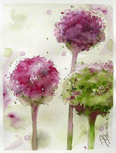 sweetlysurreal:  Allium Floral Watercolor Original Art etsy.com