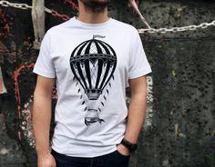 vintage Hot air balloon tshirt mens shirt hot air balloon shirt Tattoo print Men's clothing mens shirts Gift for him men's tee shirt vintage