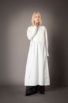 2021-22 A/W 004, 140/2 Broadcloth Quilted Dress FRC-D01-002F, Stripe Nylon Chambray Slit Baggy Pants FRC-P03-602 Chambray, Duster Coat, Normcore, Pants, Jackets, Collection, Dresses, Style, Fashion
