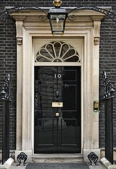 #10 Downing St. /London, England - iconic doorway of the residence and office of the British Prime Minister More