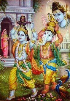 Shri Ganapati and Shri Krishna worship Shri Shiva together. Lord Shiva Hd Images, Ganesh Images, Ganesha Pictures, Ganesha Art, Krishna Art, Lord Ganesha, Hare Krishna, Lord Murugan Wallpapers, Lord Krishna Wallpapers