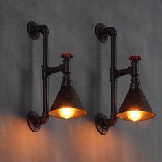 Estilo americano luz estudo lâmpada Bar sótão do vintage lâmpada de parede de…