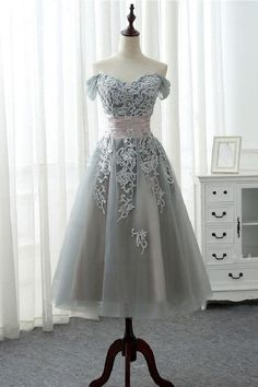 6bdbfaaeaa93 Outlet Appealing Lace Homecoming Dresses Gray Lace Tulle Prom Dress, Gray Lace  Evening Dress